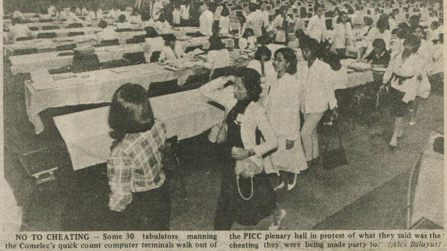 WALKOUT. Comelec employees walked out during the quick count of votes in the 1986 snap elections. Photo from http://definitelyfilipino.com