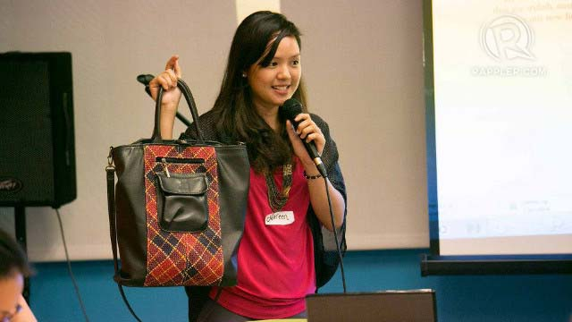 STYLISH AND EARTH-FRIENDLY. Noreen Bautista, co-founder of Jacinto & Lirio, proudly holds up one of their bags