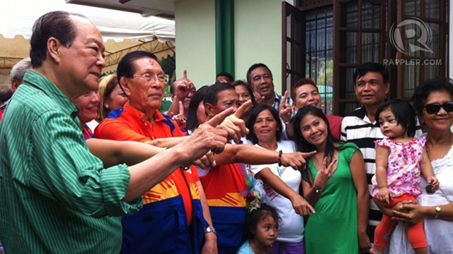 'PRESENCE UNQUANTIFIABLE.' Senate President Juan Ponce Enrile says no form of campaigning beats face to face interaction with voters. Enrile campaigns in Bohol with Vice President Jejomar Binay and former Sen Ernesto Maceda. Photo by Ayee Macaraig