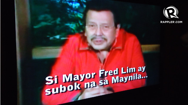 TRIED AND TESTED? The camp of re-electionist Mayor Alfredo Lim plays an old video of his rival in the polls, former President Joseph Estrada, endorsing his bid for mayoral post in 2007. Rappler/Jerald Uy