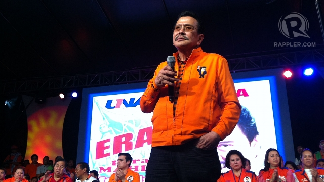 "REVIVING GLORY. Former President Joseph Estrada vows to ""resurrect"" Manila from what he calls its state of decay and deterioration. Photo by Rappler/Ayee Macaraig"