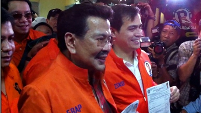 BEIJING-BORN? Is he a real Manilan? Former President Joseph Estrada turns the tables around, joking that Mayor Lim may have been born in Beijing. Photo by Ayee Macaraig
