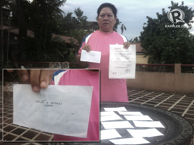 VOTE BUYING WITNESS. In her affidavit, Evelyn Pedrera claims that a barangay captain instructed her to personally distribute 22 envelopes to voters in Maasin City. Photo by Voltaire Tupaz