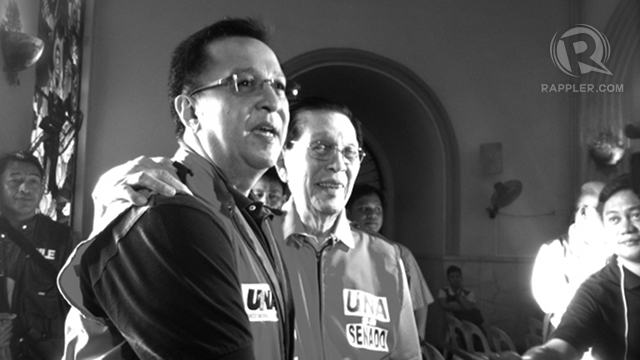 FACTOR IN DROP. Senate President Juan Ponce Enrile admits the Senate fund controversy may have been a factor in the huge drop in his popularity. His son Cagayan Rep Jack Enrile says he will inevitably be affected by what happens to his father. Photo by Ayee Macaraig