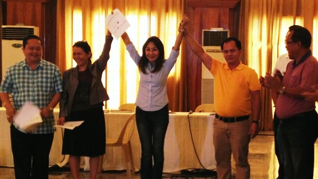 SHE'S BACK. Suspended Gov Gwen Garcia is proclaimed congresswoman of Cebu's 3rd district after a 6-month suspension for grave abuse of authority. Garcia beat her rival LP bet Geraldine Yapha by a slim margin. Photo from Christina Frasco's Twitter account