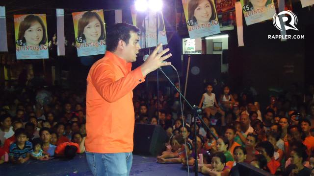 "'NANG-AANGKIN.' After his ""nganga"" rhetoric, re-electionist Vice Mayor Isko Moreno calls Mayor Alfredo Lim ""nang-aangkin"" for taking credit for hospitals he did not build. Rappler/Jerald Uy"