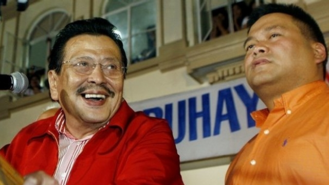"ESTRADA BRAND. Pulse Asia says Rep JV Ejercito's use of the name ""Estrada"" boosted his survey ranking. File photo from former President Estrada's Facebook page"