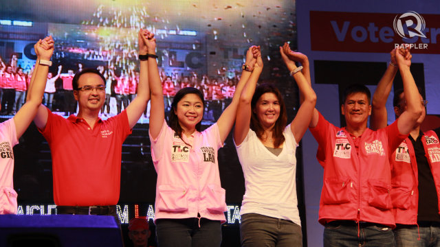 "RE-ELECTED. Taguig Mayor Lani Cayteno (center) with her husband senator Alan Peter and her sister senator Pia Cayetano at the end of a miting de avance in their home court of Taguig. Lani Cayetano calls their last political rally a ""dry run for their victory party."" Photo by Rappler/Katherine Visconti"