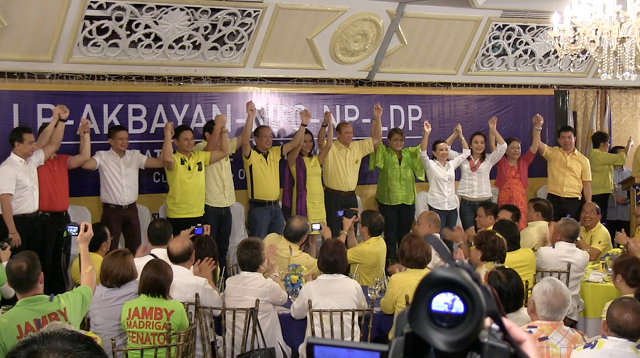ONE TEAM. President Benigno Aquino III endorses his senatorial slate, Team PNoy. Photo by Rappler
