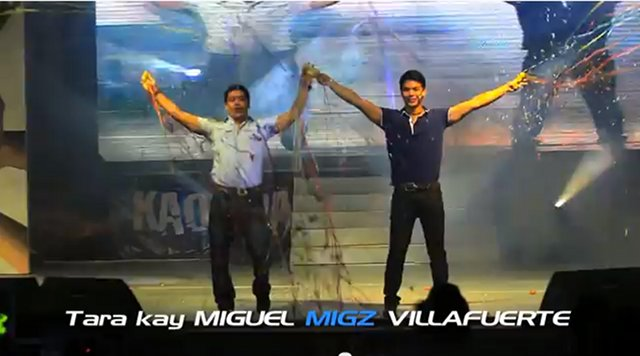 SIMILAR TACTICS. Migz Villafuerte with his father and Gov LRay Villafuerte, campaigns like his father and grandfather, with grand theatrics. Screenshot from Gov LRay's YouTube account