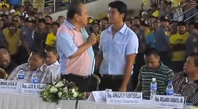 FAMILY FEUD. Gov Luis Villafuerte publicly argues with his grandson and opponent Migz. Screenshot from YouTube user Fidel Olos