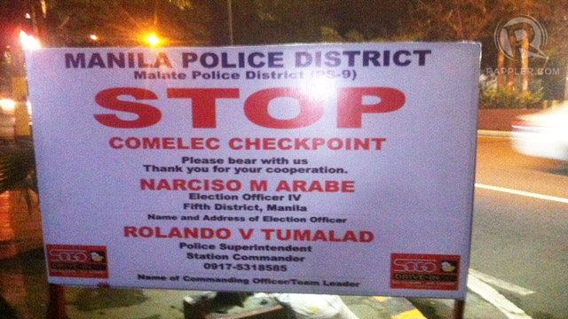 GUN BAN. By Sunday, January 13, Comelec installs checkpoints for the election period. Photo by Voltaire Tupaz