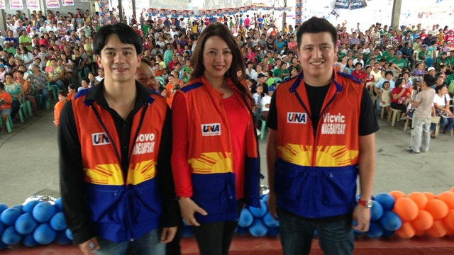 MOTHER AND SONS. UNA is fielding Rep Mitos Magsaysay's sons as candidates in Zambales. Jobo (left) is running to replace her as Zambales representative while Vic-Vic (right) is running for vice mayor of Olongapo. Both are competing against relatives of UNA senatorial bet former Sen Richard Gordon. Photo from Vic-Vic Magsaysay's Facebook page