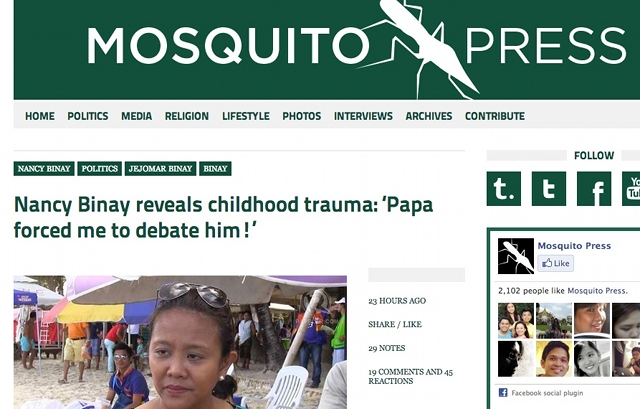 Screenshot of another satirical post on the Mosquito Press
