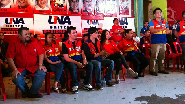 NO RIVALRY FOR A NIGHT. Former Sen Richard Gordon's son, Brian (leftmost), shares the UNA stage with his rival for vice mayor, Vic-Vic Magsaysay (3rd from left). Vic-Vic is son of Zambales Rep Mitos Magsaysay. Another Magsaysay son, Jobo (4th from left) is running against Gordon's brother, Olongapo Mayor Bong Gordon, for Zambales 1st district representative. Photo by Ayee Macaraig