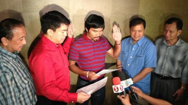 NEW MEMBER. Boxing champ and Sarangani Rep Manny Pacquiao took his oath into PDP-Laban in April and was named Vice President for Mindanao. File photo from PDP-Laban's Facebook page