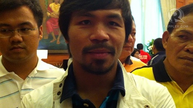 'NO PROBLEM.' Sarangani Rep Manny Pacquiao does not see any problem so far in his 2013 reelection bid. Photo by Ayee Macaraig
