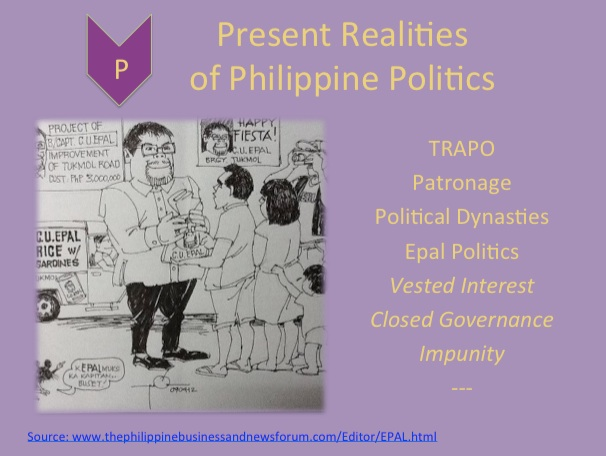 NOT OVERNIGHT. INCITEGov Deputy Director Paola Deles says these realities of Philippine politics won't change overnight but can be made issues in the 2013 polls. Slide from Deles' Powerpoint presentation