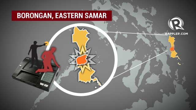 SAMAR COP KILLED. Violence in Eastern Samar while guarding PCOS machines. Photo by Emil Mercado/Rappler.com