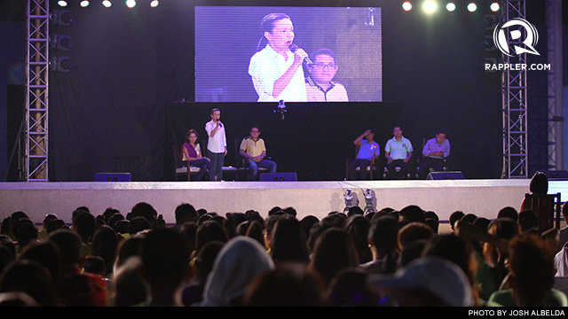GRACE POE. The daughter of late action star and former presidential candidate Fernando Poe Jr addresses the crowd at the Rappler Debate in Quezon City. Photo by Rappler/Josh Albelda
