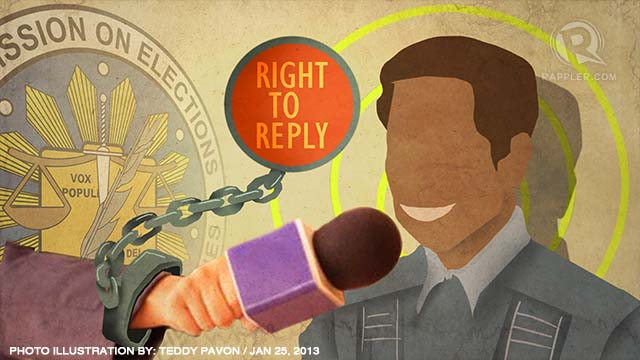 'RIGHT TO REPLY.' The Comelec's new rule may impinge on editorial judgment, journalists fear. Photo illustration by Teddy Pavon