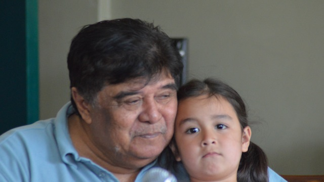 Former congressman Romeo Jalosjos with his daughter during a press conference at his house in Dipolog. Photo taken by Gualberto Laput