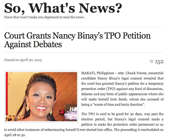 'NOT TRUE.' Nancy Binay says her fear is that people think the satirical posts about her and her children are true. Screenshot of 'So, What's News?'