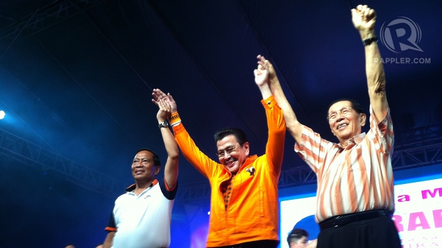 "ERAP'S ENDORSERS. Vice President Jejomar Binay and Senate President Juan Ponce Enrile return to the campaign trail to endorse Estrada's mayoral bid. They are known as the so-called ""3 kings"" of UNA. Photo by Rappler/Ayee Macaraig"