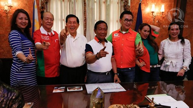 LOCAL BAILIWICKS. On the first week of the local campaign period, UNA will revisit the bailiwicks of its top leaders like Laguna for proclamation rallies of relatives and local allies. In Laguna, Estrada nephew Gov ER Ejercito (5th from left) is seeking reelection. File photo by Rappler/John Javellana