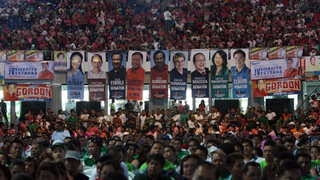 THE ALTERNATIVE. UNA bets present themselves as alternatives to administration candidates but observers say they failed to distinguish themselves from Team PNoy. File photo from UNA Media Bureau
