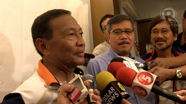 TOUGH POSITION. Cabanatuan City Mayor Jay Vergara (middle), President Aquino's party mate and classmate, says he is an LP member but pledges support for Nancy Binay and other UNA bets. Photo by Rappler/Ayee Macaraig